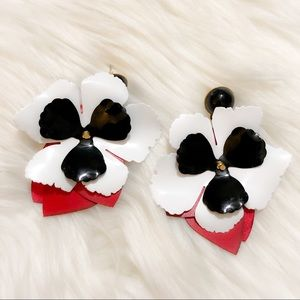 Red white and black flower 🌸 statement earrings